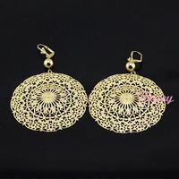 Womens Big Gold Earrings 18K Yellow Gold Filled Flowers Drop Earrings Dangle Jewelry New Party