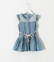 2015 Girls Jean Puff Sleeve Sashes Dresses, Kids Hollow Out Lace Cowboy Belt Dress 5 pcs/lot,Wholesale