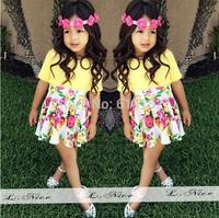 2015 new Summer girls suit,kids baby Girls clothing set kids children T shirt +flower skirt 2 pc clothes set girl dress set