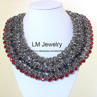fashion jewelry for women 2015 za brand choker collar bib chunky black big rhinestone statement Necklaces & pendants LM-SC1010