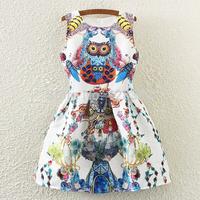 High Quality Women Dress 2015 Runway Brand Fashion Cartoon Animal Owl 3D Print Slim A-Line White Printed Vest Dress
