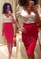 2015 Summer Dress Women Style Casual Deep V-Neck Slim Thin Sexy Patchwork Knee Length Party Hip Sttraight Dresses WD105