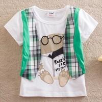 New 2015 Boys T-Shirts Fake two shirts baby girls boys clothing T-Shirt kids children summer Tops & Tees