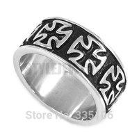 Free shipping! World War II German Army Iron Cross Ring Stainless Steel Jewelry Vintage Motor Biker Knight Men Ring SWR0294
