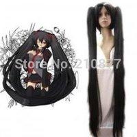 Japan Anime Vocaloid Zatsune Miku Long Black Cosplay Wig