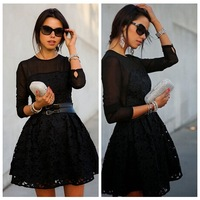 New 2015 Vestidos Femininos European American Star Style Women Casual Sexy Black Lace Floral Embroidery Ball Gown Mini Dress