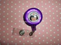 Free Shipping WholesalesPurple color  Nursing Nurse Dr RN LPN CNA Retractable Reel ID Badge Holder SD-N1