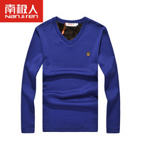 ren thermal underwear Ms. male V collar T-shirts ultra thick Tencel super soft warm clothes suits with velvet thickening