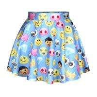 New Fashion Funny Skirt Mini Skirt Blue Color Emoji Skirt For Women