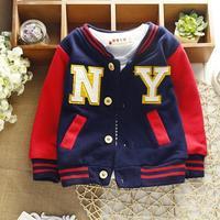 2015 new NY kids cardigan boys coats baseball baby clothes children jackets