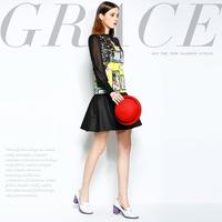 Mi15012233   gustless  fashion patchwork print lace ruffle one-piece dress