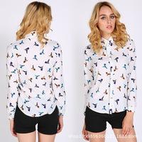 Hot New 2015 Fashion Chiffon Blouse Long Sleeve Blouse Turn-Down Collar Bird Print Shirt Women Blouse Lapel Tops