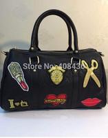 Personality Big Black Handbag Casual Bag Women Messenger Bag Travel Tote Bags Skull Bag Scissors Lips Love Picture 0543A