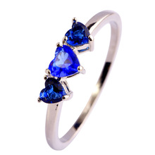 Free Shipping 2015 New Heart Cut Sapphire Quartz 925 Silver Fashion Love Jewelry Ring Size 6 7 8 9 10 11 12 Wholesale For Women