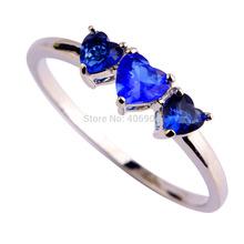 Free Shipping 2015 New Heart Cut Sapphire Quartz 925 Silver Fashion Love Jewelry Ring Size 6