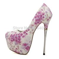 2015 Spring Women's Fancy 16 CM Ultra High Heels Platform Pumps Shoes New Fashion Floral Print Thin Heels Pumps Big Size 40