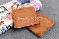 DA383 F New fashion men Vintage  genuine leather 100% short wallet card bag  wholesale drop shipping free shipping