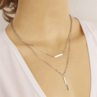 New Simple Women Necklace Silver Bar Stick Double Layer Charm Choker Necklace Women Fashion Jewelry NE034