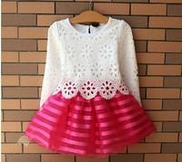 2015 new girl dress children girls's clothing set spring summer long sleeve striped skirt white shirt new year gift