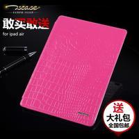For iPad Air 2 Crocodile Luxury Ultra Slim Genuine Natural Cow Skin Leather Smart Flip Fold Cover Stand Case Auto Wake Up Sleep