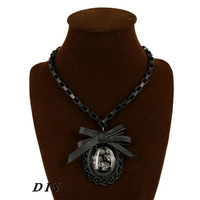 Fashion Resin Pendant Necklaces Alloy Collares Jewelry Beautiful Butterfly-knot Design Necklaces for Women DIS1211012