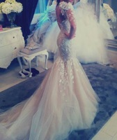 Fashionable High Neck Appliques Details Tulle Chapel Train Long Sleeves Mermaid  Designer Wedding Dresses