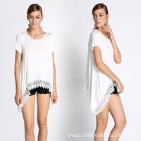 Women White Lace Embroidery Tops 2015 Summer Hot Selling Women Fashion T-shirt Big Size T-shirts Blouse Drop Shipping