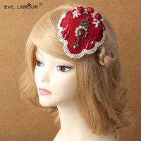 Princess lolita hat festival dinner etiquette red flower lady's small hat beret hairpin hair clip hair accesorries FJ - 40