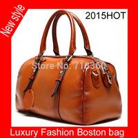 Hot !! 2015 high-grade rivet Boston women handbag 100% genuine leather fashion leisure women bag One shoulder hand leather bag