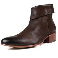 Trend cowhide boots nubuck cowhide handmade men's boots genuine leather denim cowboy western martin boots men's shoes zipper