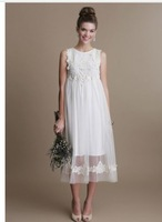 Fresh Looking Scoop Neck Sleeveless Appliques Detail Tulle  Mid-Calf Empire Wedding Dresses