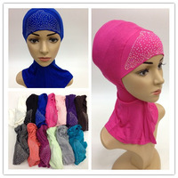 free shipping by DHL new designs rhinestones cotton muslim ninja islamic underscarf cover neck SYF116