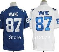 Indianapolis #87 Reggie Wayne Men's Authentic Game Team Blue/White Football Jersey