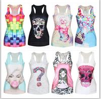 Women T shirt Gradient 3D Plaid Printed T-shirts,Sleeveless Sports T-shirt women,t shirt woman,Top tees,summer tops
