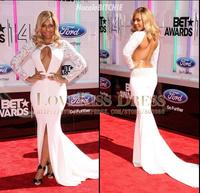 Scoop Neck Long Sleeve White Chiffon Long Mermaid Sexy Runway Red Carpet Evening Celebrity Dresses 2015