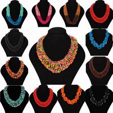 2015 New Style Bohemian Necklace for Women Colorful Choker Wood Beads Multi-layers Statement Bib Necklace Fashion Jewelry Gift