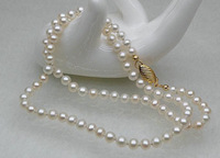 Fine Pearl Jewelry genuine natural Fine round 6mm genuine AAA+ white akoya pearls necklace 20inches 14k