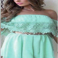 Plus Size 2015 New Women Ladies Clothing Female Flare Sleeve Backless Casual Green Lace Dresses