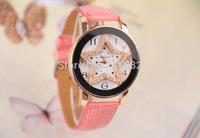 women watch lady Quartz calibre leather band Analog wristwatch women analog girl clock watches star pattern design Decorative
