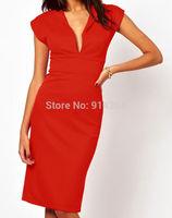 Sexy Deep V Red Short Sleeve Hot Knee-Length Formal Evening Party Pencil Dress