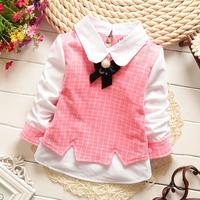 baby girls shirts plaid 2015 spring children shirts long sleeve kids clothes 737-