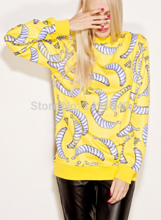 blusa female 2015 3D Women Pullover bananas yellow loose 3D Sweatshirt Hoodie Galaxy harajuku sweat suit sudaderas Tops(China (Mainland))