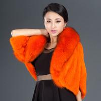 2014 mink fox fur cape female fur cloak design short outerwear