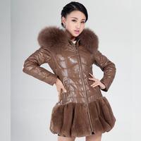 Leather clothing 2014 genuine sheepskin leather down coat medium-long female slim fox fur with a hood outerwear