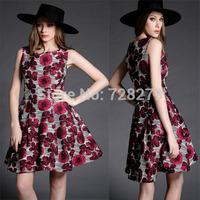 New Arrival 2015 spring Women's fashion Elegant three-dimensional flowers slim tank dress Fashion Dresses