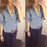 2015 Women Blouse Loose Cotton Plaid Print Long Sleeve Blouse Casual Clothing Plus Size Shirts Camisa Feminina Blouse Tops S-XL