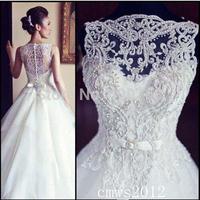 Charismatic High Neck Appliques Detail Tulle Sweep Train Ballgown Elegant Wedding Dresses