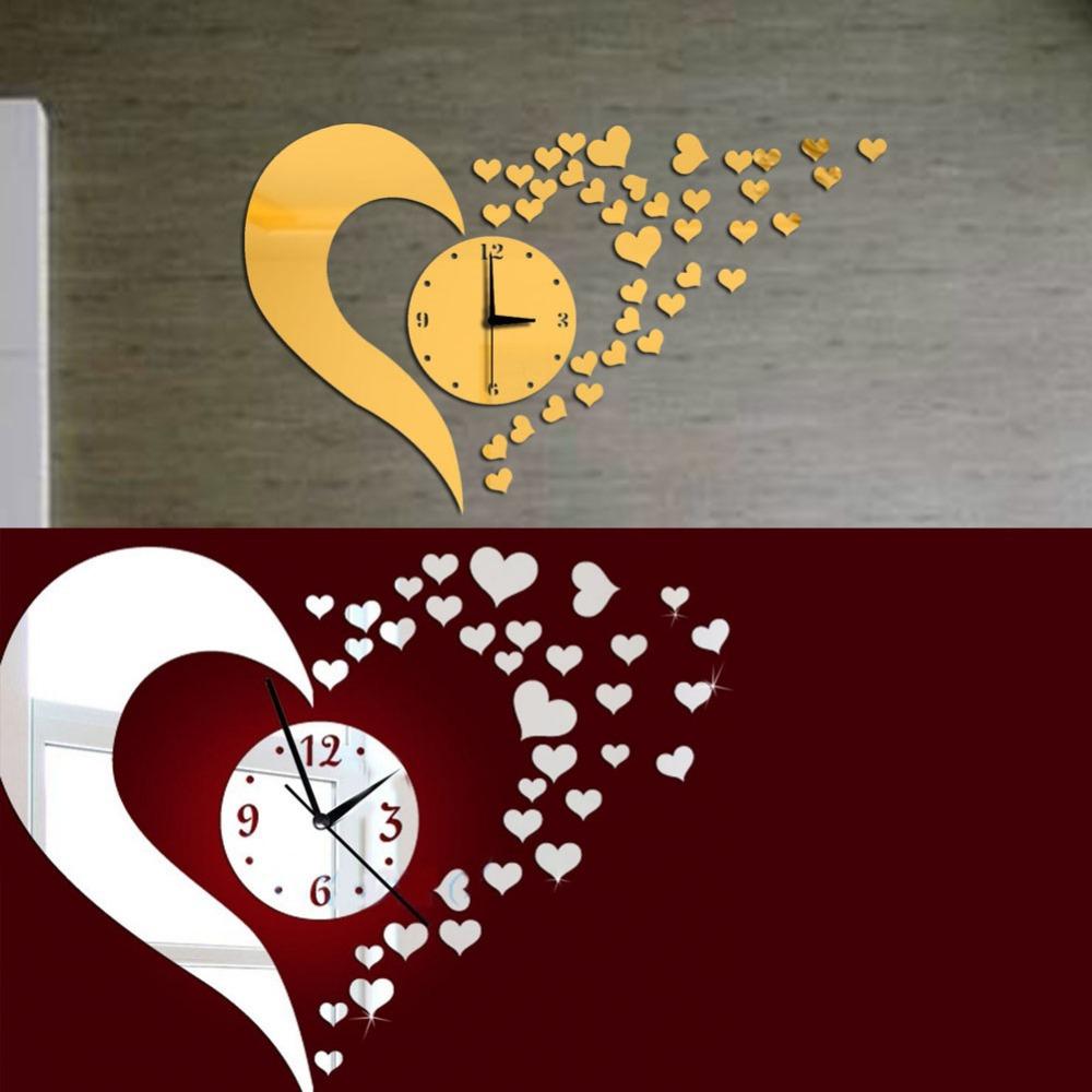 DIY 3D Home Modern Living Room Bedroom Decor Love Mirror Sticker Wall Clock Free Shipping  K5BO(China (Mainland))