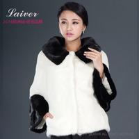 2014 winter short design marten overcoat Women square collar mink fur coat