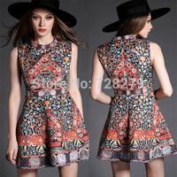 New Arrival 2015 elegant Royal Wind Jacquard handmade slim one-piece dress Tank dress